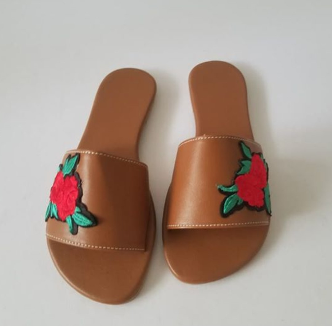 Brand New Camel Sandals with Rose Patch