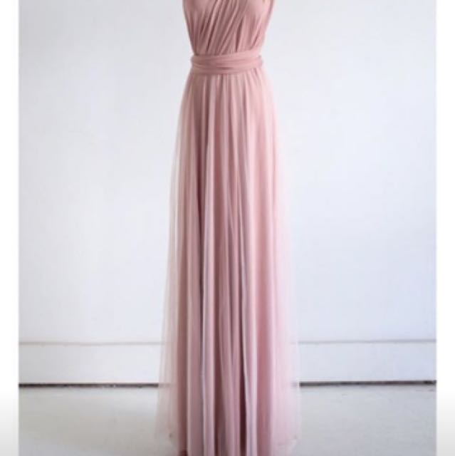 Brand new dusty pink multiway dress with tulle overlay