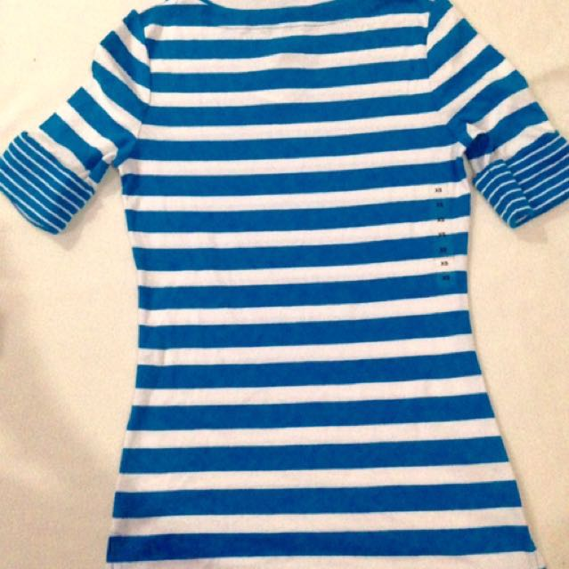 BRAND NEW RALPH LAUREN (AUTHENTIC/ORIGINAL)  3/4 sleeved stripes blouse