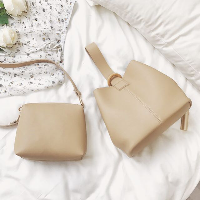 BUY 1 GET 1 Bucket Bag Beige & Shoulder Bag Beige