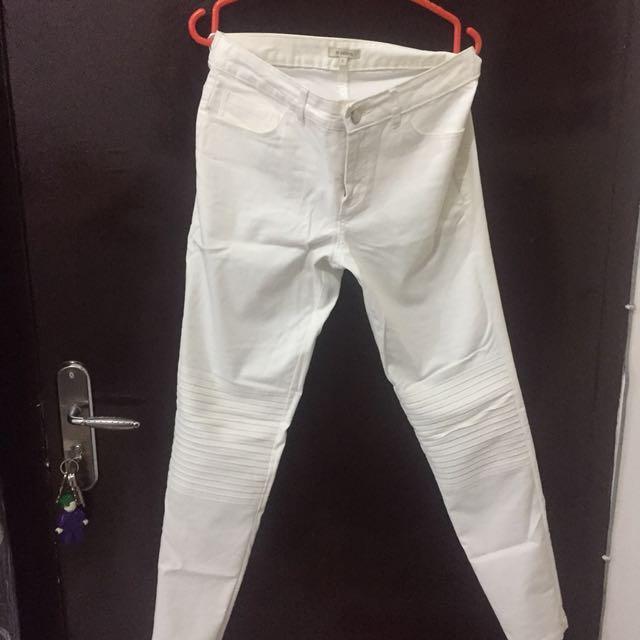 Celana denim putih