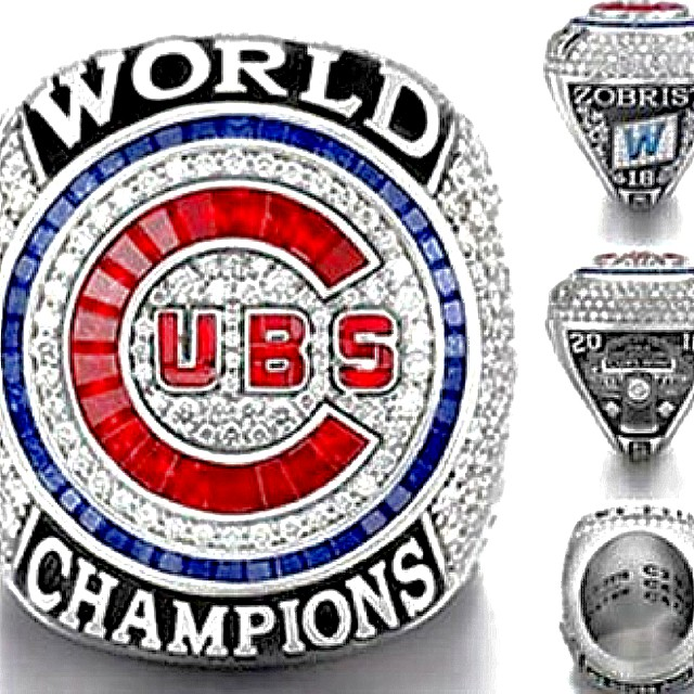 Chicago Cubs 2016 Replica World Series Championship Stainless Steel Size 9 Ring - Ben Zobrist NEW