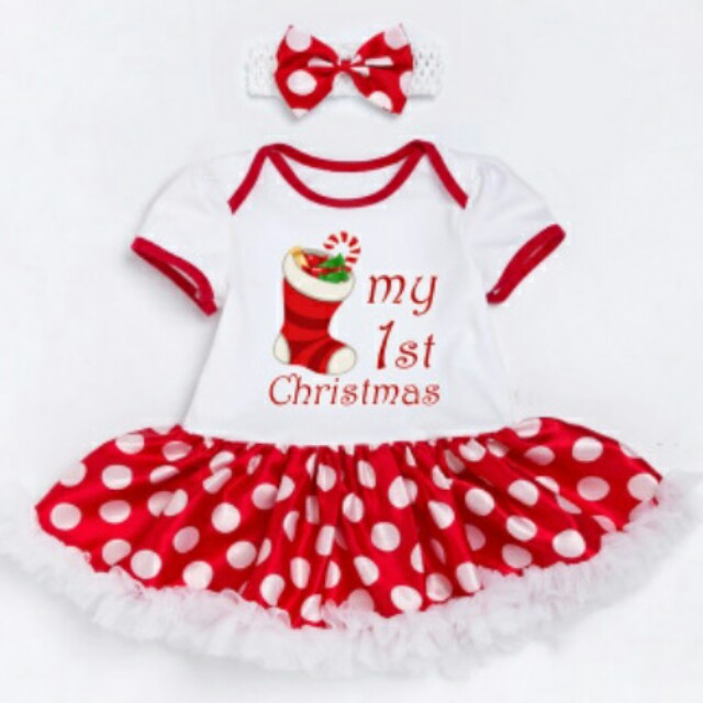 Christmas Dress My 1st First Christmas Baby Dress 0-2 Years Old, Babies & Kids, Babies Apparel on Carousell