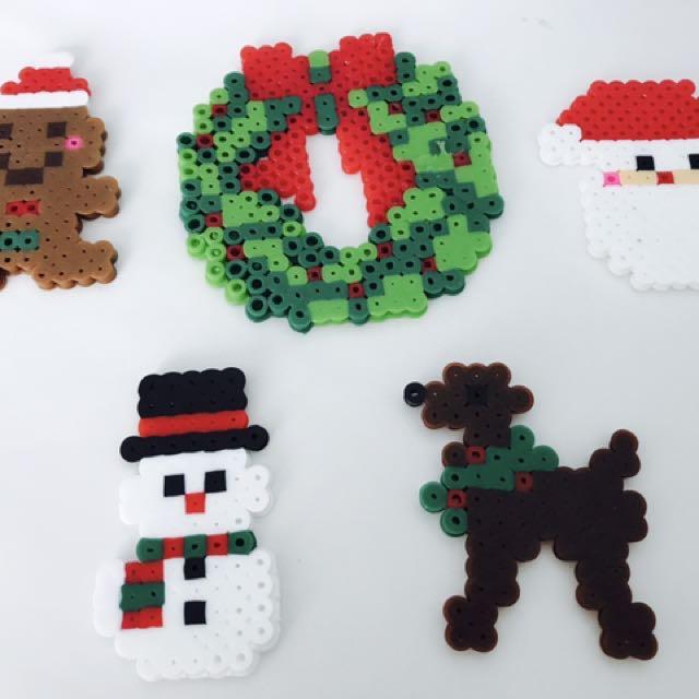 Christmas Hama Beads.Christmas Hama Beads Keychain Design Craft Handmade
