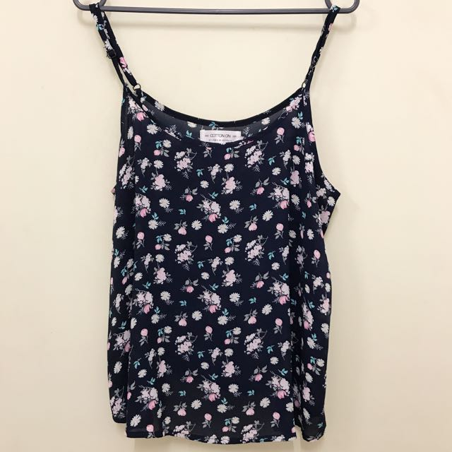 Cotton On Floral Navy Tank