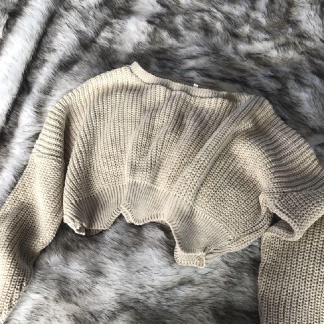 Crop knit jersey