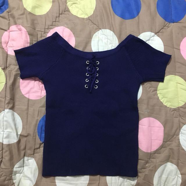 Crop top knit dark blue