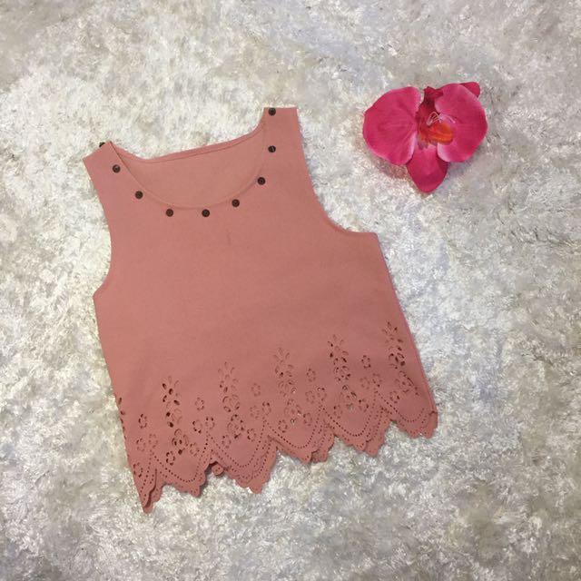 Croptop Spiky Nude Pink