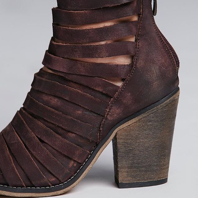 Free People 'Hybrid' Leather Strap Booties In Wine Colour-Size 7