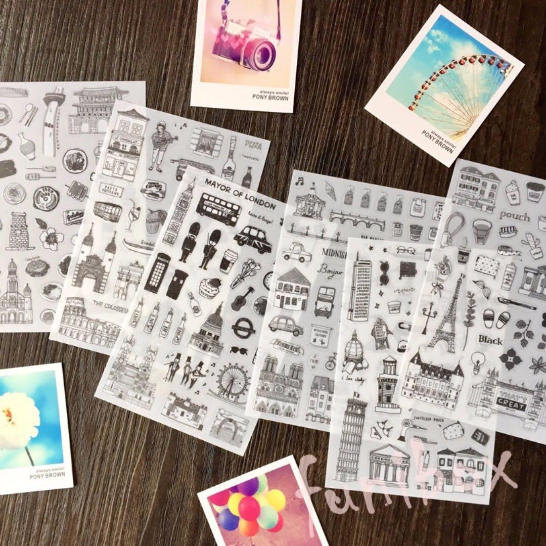 *funibox* 黑白手繪風世界風情名勝景點建築透明6入貼紙/日記名信片手帳旅行裝飾貼紙