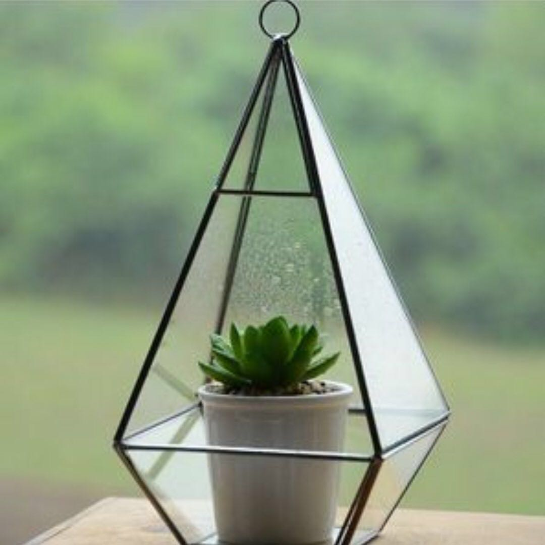 Geometric Glass Hanging Container in Bronze or Gold