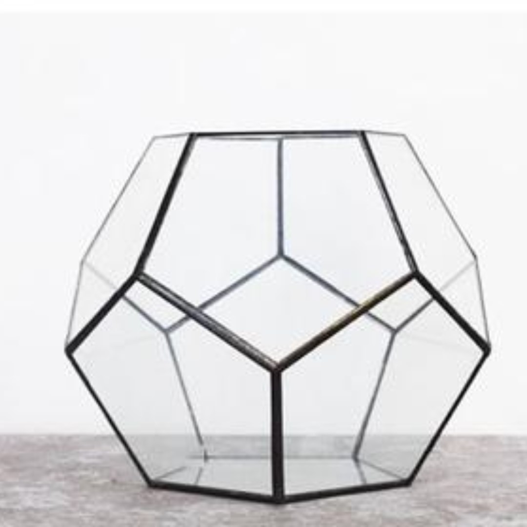 Geometric Terrarium Glass Table Container in Black