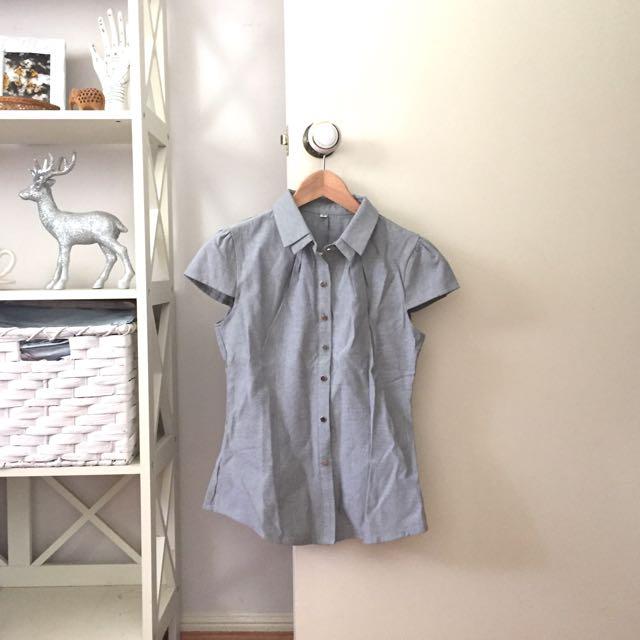 Grey button up blouse office short sleeve shirt