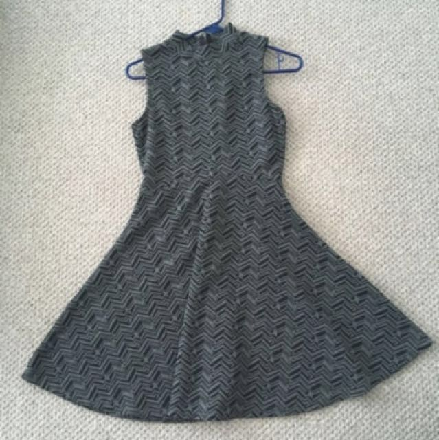 Grey Pattern Turtle Neck Dress