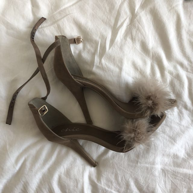 Groovy fluffy beige high heels