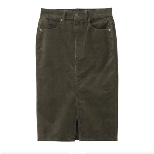 徵)GU燈芯絨及膝裙