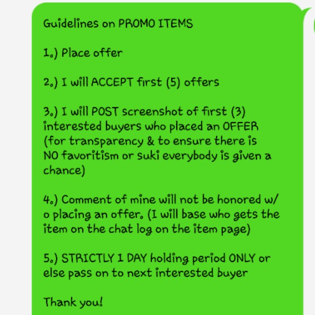 GUIDELINES on PROMO ITEMS
