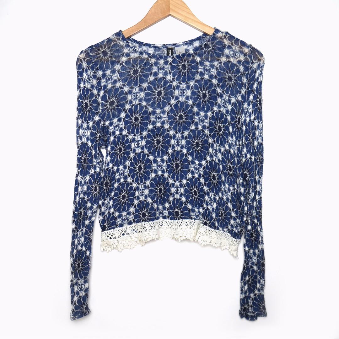 H&M Divided Blue Crochet Top