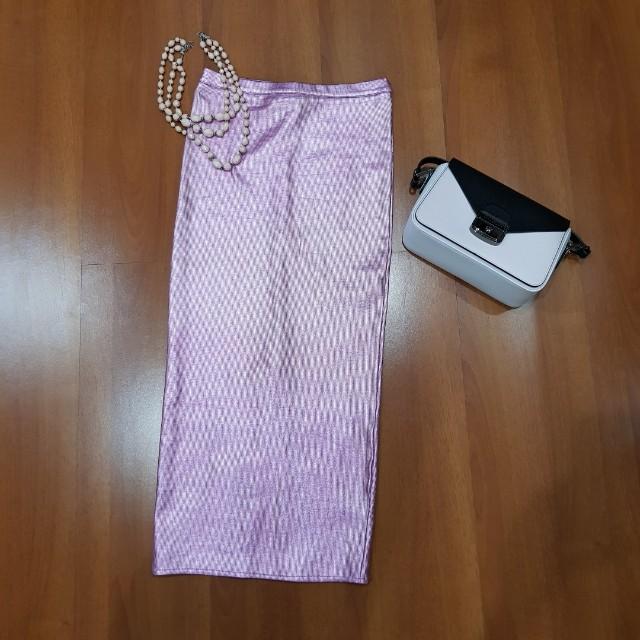 H&M Pencil Skirt Pink Metallic