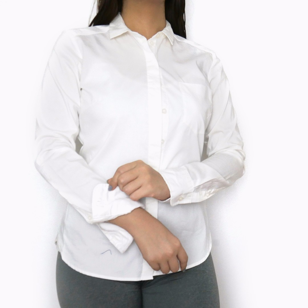 H&M White Long Sleeves Button Up Top