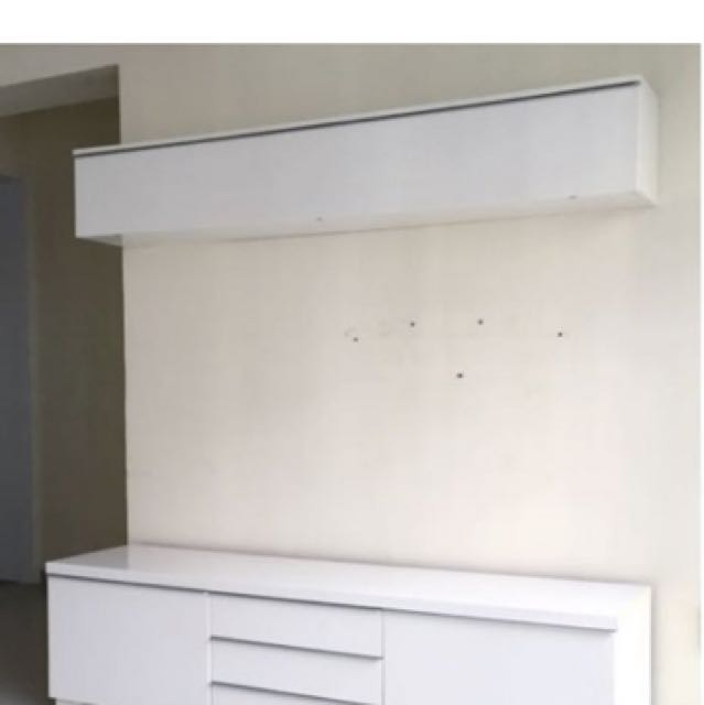 ikea besta burs wall cabinet shelf high gloss white furniture shelves drawers on carousell. Black Bedroom Furniture Sets. Home Design Ideas