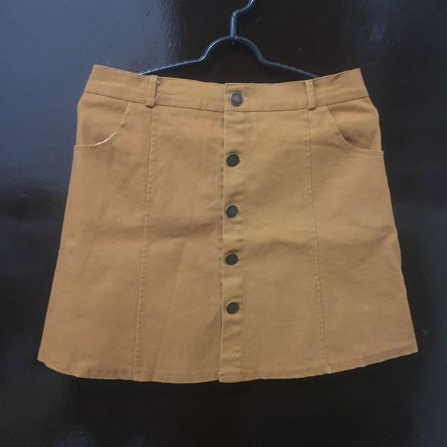 Khaki button up skirt