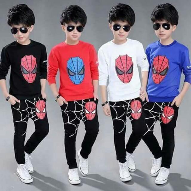 Kids wear Spider print cotton terno