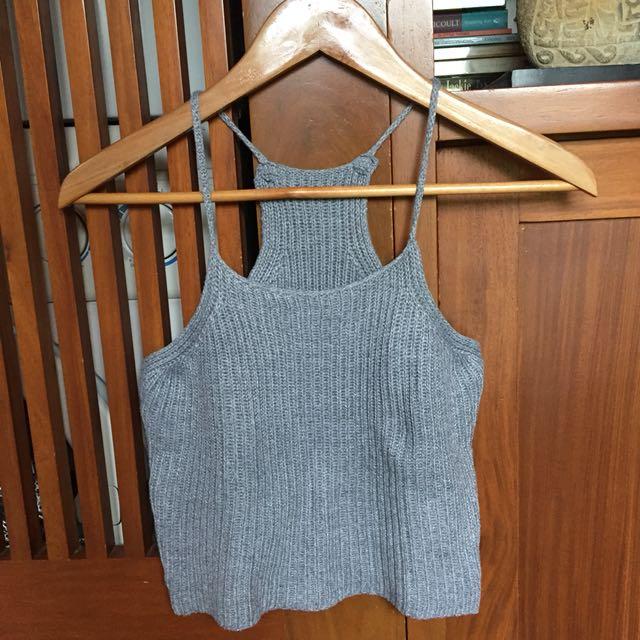 Knit Grey Halter Crop Top