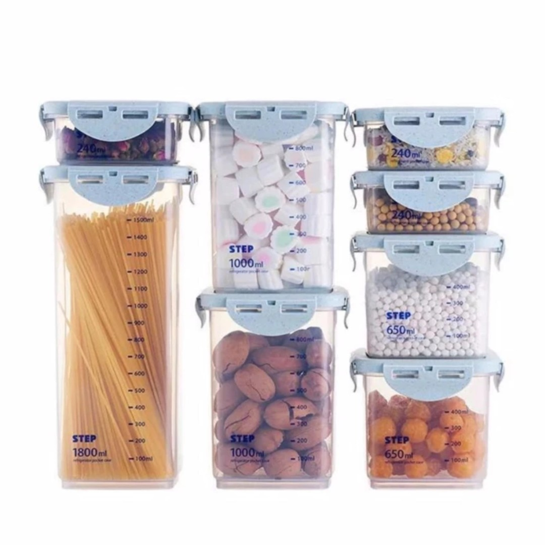 Multifunction Food Container Storage Air Tight Transparent Box (8pcs)