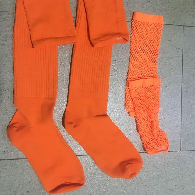 Neon Orange Net(Hand) and long socks (Perfect for retro,60s,70s costume)