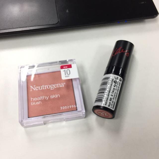 Neutrogena Blush and Rimmel Lipstick