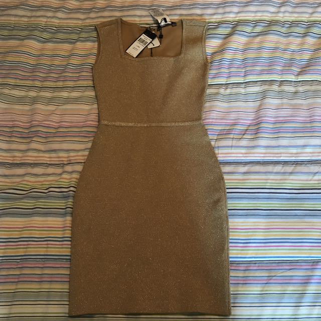 NWT BCBG GOLD DRESS- XXS