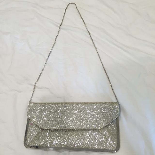 Oasis Silver Clutch Bag