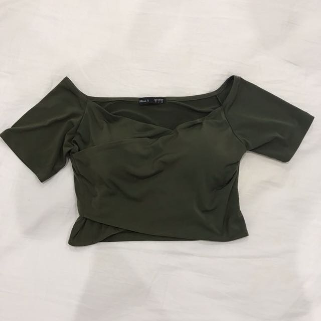 Off the shoulder wrap crop top with padding