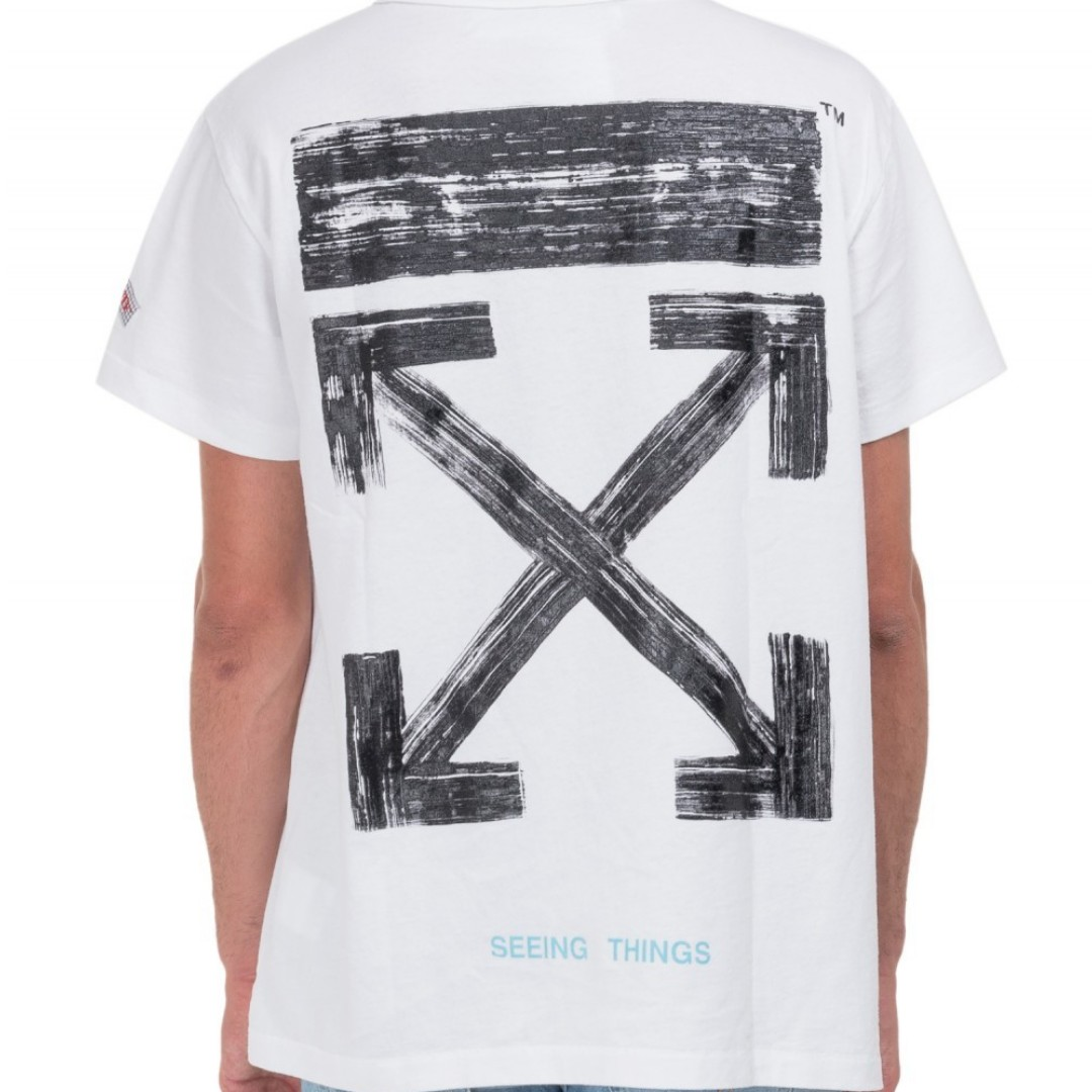 69072feb off white brushed arrow tee, Men's Fashion, Clothes on Carousell