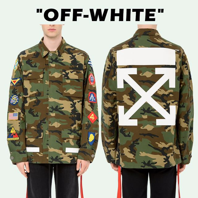 51d56624ff81 OFF-WHITE C O VIRGIL ABLOH ARCHIVE FIELD JACKET CAMO Jackets 軍綠色 ...
