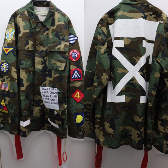 9d6a19271ee7 OFF-WHITE C O VIRGIL ABLOH ARCHIVE FIELD JACKET CAMO Jackets 軍綠色迷彩恤衫外套OW OFF  WHITE