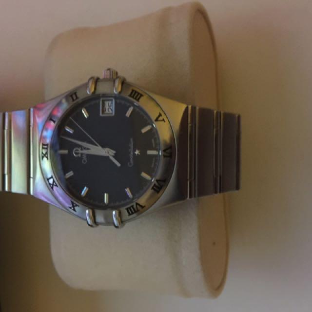 Omega星座手錶,國內極少的藍色錶盤,含龍頭36錶徑,精準石英機芯,中性錶款(已售)