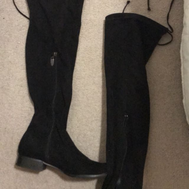 Over the knee black lace up boots size 7