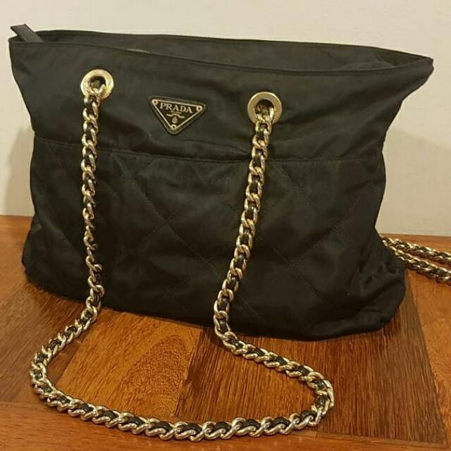 0fe169e6e4bc Prada Nylon Quilted Large Chain Shoulder Bag, Luxury, Bags & Wallets on  Carousell