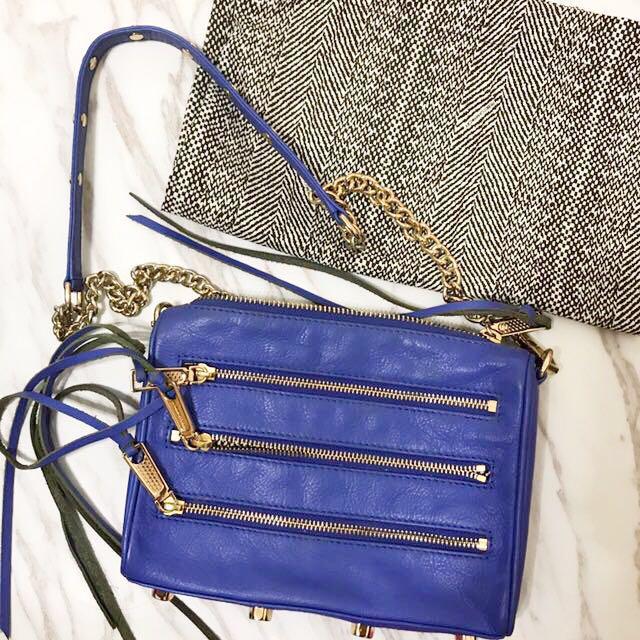 Rebecca minkoff zip5 寶藍色斜背包 側背包鏈條包 kelly同款 真皮牛皮
