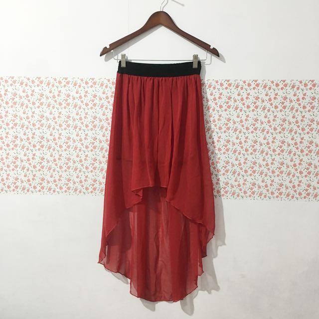 Rok highlow red maroon