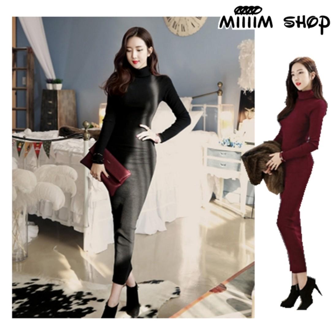 (S-2XL)高領毛衣秋冬長版針織裙連身裙 加厚長袖高領針織洋裝