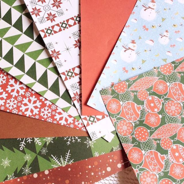 [Set Of 9] Papier (Set #33) - Set Of 9 Winter Themed Christmas Papers.