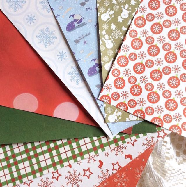 [Set Of 9] Papier (Set #34) - Set Of 9 Winter Themed Christmas Papers.