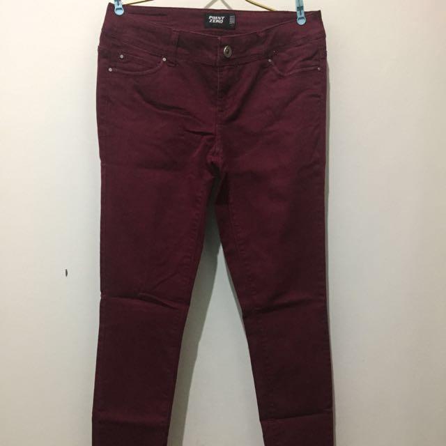 Skinny Leg Maroon Jeans