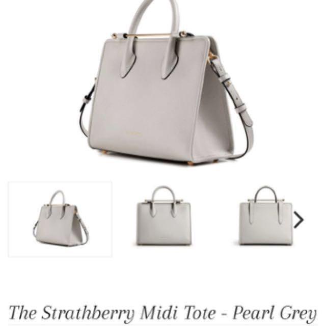 Strathberry Midi Tote- pearl grey