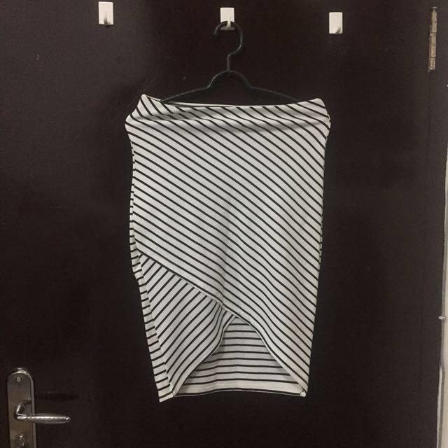 Stripe bandage skirt  bodycon zara