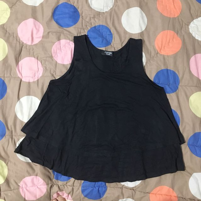 Tank top black double layer