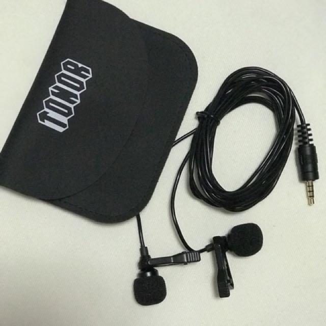 TONOR Lavalier Lapel Microphone Dual Headed Recording Clip On Mic Mini Microphon